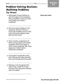 Multi-Step Problems: Practice Worksheet
