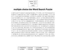 Multiple Choice Biology Word Search Puzzle Worksheet
