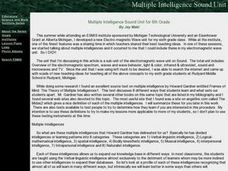 Multiple Intelligence Sound Lesson Plan