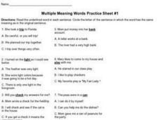 Multiple Meaning Words Practice Sheet #1 Worksheet