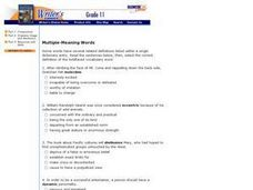 Multiple-Meaning Words Worksheet