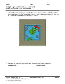 Multiple Representations in the Real World 1 Worksheet