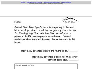 Multiple Step Word Problem - Thanksgiving Multiplication and Division Worksheet