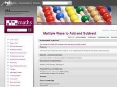 Multiple Ways to Add and Subtract Lesson Plan