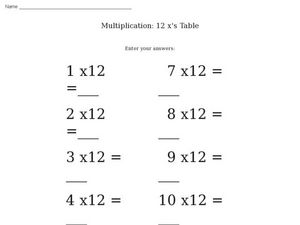 Multiplication: 12 x's Table Worksheet