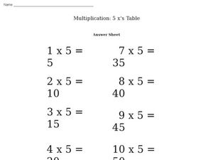Multiplication: 5 x's Table Worksheet