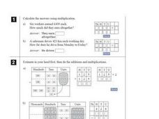 Multiplication and Addition Fill in the Missing Digits Worksheet Worksheet