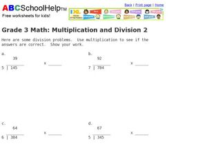 Multiplication and Division  2 Worksheet