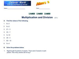 Multiplication and Division (3.1) Worksheet