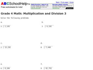 Multiplication and Division 3 Worksheet