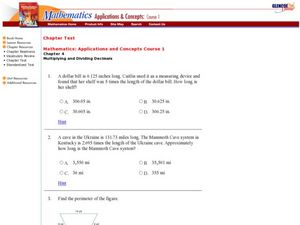 Multiplication and Division of Decimals Worksheet