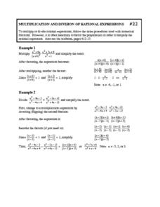 Multiplication and Division of Rational Expressions Worksheet