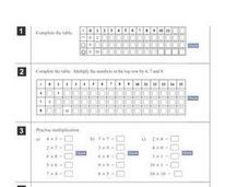Multiplication and Tables Worksheet