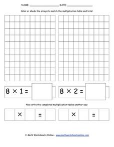 Multiplication Arrays-- Facts of 8 Lesson Plan
