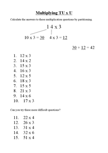 Multiplication by Partitioning Worksheet