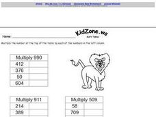 Multiplication Chart/Table-- 3 Digit Numbers Worksheet