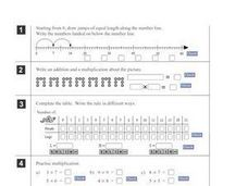 Multiplication Facts: Tables, Number Lines and Pictures Worksheet