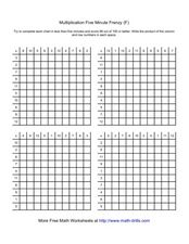 Multiplication Five Minute Frenzy (F) Worksheet