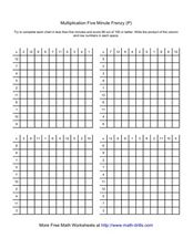 Multiplication Five Minute Frenzy (P) Worksheet
