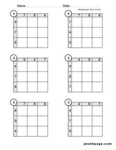 Multiplication Grid 4,7,8,9 Worksheet