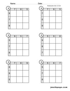 Multiplication Grids- 5, 6, 7, 8, and 9 Worksheet