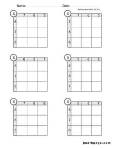 Multiplication Grids Worksheet