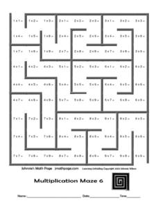 Multiplication Maze 6- Johnnie's Math Page Worksheet