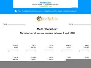 Multiplication of Decimal Numbers Between 0 and 1000: Part 4 Worksheet