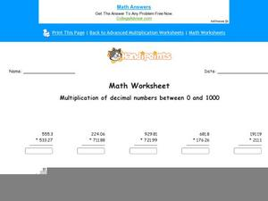Multiplication of Decimals Numbers Between 0 and 100 Worksheet