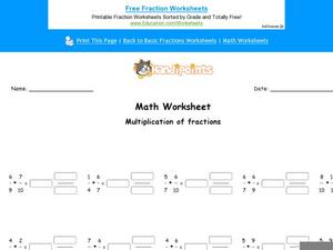 Multiplication of Fractions Part 5 Worksheet
