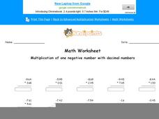 Multiplication of One Negative Number with Decimal Numbers: Part 5 Worksheet