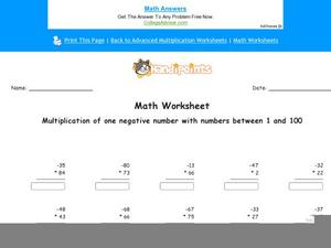 Multiplication of One Negative Number with Numbers Between 1 and 100: Part 1 Worksheet