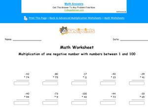 Multiplication of one Negative Number with Numbers Between 1 and 100: Part 6 Worksheet