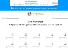 Multiplication of One Negative Number with Numbers Between 1 and 100: Part 9 Worksheet