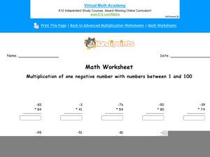 Multiplication of One Negative Number with Numbers Between 1 and 100 Worksheet