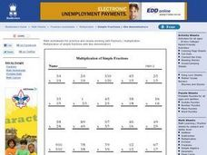 Multiplication Of Simple Fractions Worksheet