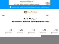 Multiplication of Two Negative Numbers with Decimal Numbers: Part 2 Worksheet