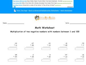 Multiplication of Two Negative Numbers Worksheet