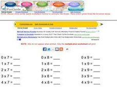 Multiplication Practice, 7-9 Worksheet