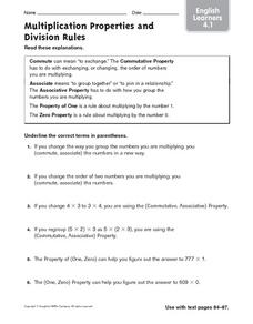 Multiplication Practice and Division Rules Worksheet