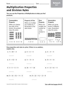 Multiplication Properties and Division Rules 2 Worksheet