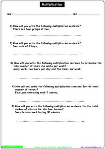 Multiplication: Sentences Worksheet