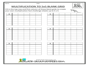 math worksheet : multiplication to 5x5 blank grid 4th  6th grade worksheet  : Blank Multiplication Grid Worksheet