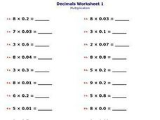 Multiplication With Decimals Worksheet
