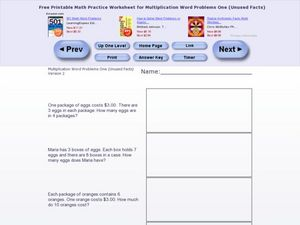 Multiplication Word Problems One Version 2 Worksheet
