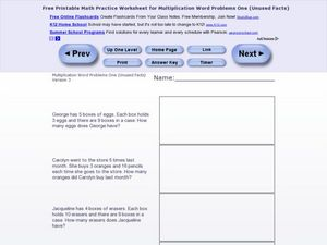 Multiplication Word Problems One - Version 3 Worksheet
