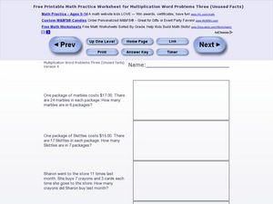 Multiplication Word Problems Three - Version 4 Worksheet