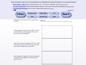 Multiplication Word Problems Two - Version 3 Worksheet