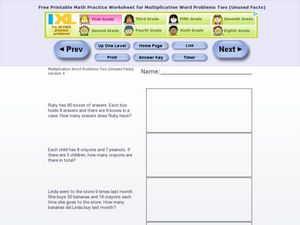 Multiplication Word Problems Two - Version 4 Worksheet