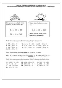 Multiply and Divide by 10 and 100 Worksheet